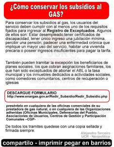 mantener subsidio de gas